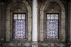 Windows在雪花石膏清真寺在开罗 库存图片