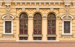 Windows连续与在办公楼门面的加工的花格  库存照片