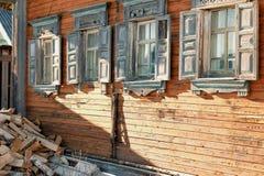 Windows é casa de madeira Imagem de Stock