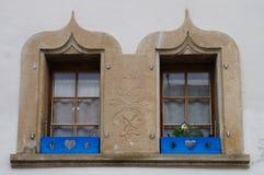 Windows Średniowieczny dom w Gruyere, Fotografia Stock