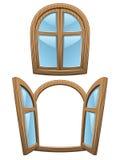 Windows κινούμενων σχεδίων ξύλιν&a στοκ φωτογραφία με δικαίωμα ελεύθερης χρήσης