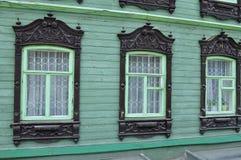 Windows архитектурноакустического и исторического памятника к Tyumen, h Стоковые Фотографии RF