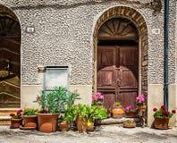 Windows и двери в старом доме украшенном с цветком Стоковое Фото