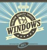 Windows и двери продают в розницу и обслуживают иллюстрация вектора