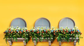 Windows и цветки на балконе желтого цвета Стоковые Изображения
