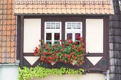 Windows на полу-timbered доме Стоковое Фото