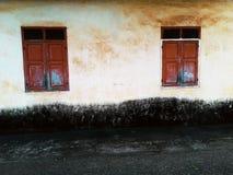 2 Windows на старой стене Стоковые Изображения