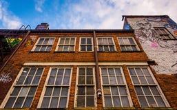 Windows на стороне здания в переулке граффити, Балтимор, Стоковые Изображения RF