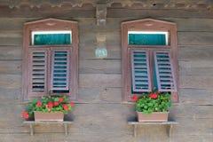 Windows на типичном деревянном доме в деревне Krapje, природном парке Lonjsko Polje, Хорватии Стоковое Изображение RF