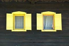 Windows на типичном деревянном доме в деревне Krapje, природном парке Lonjsko Polje, Хорватии Стоковые Фото