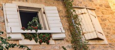 Windows со шторками и баками с цветками в каменной стене стоковая фотография rf