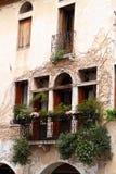 Windows с балконом и цветками Стоковое Фото