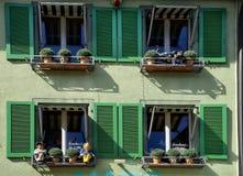 Windows с цветками Staufen im Breisgau Schwarzwald Германия Стоковые Фотографии RF