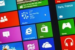 Windows 8 1个赞成地铁接口 库存照片