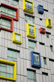 Windows. A building with colorful windows Royalty Free Stock Photography