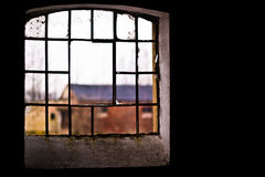 Windows. Discarded ruin with old windows and wall, industrial window in concrete wall Stock Photography