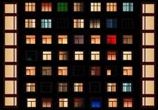 Windows在晚上,司令官向量 库存图片