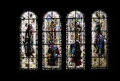 彩色玻璃Windows圣马洛湾大教堂--法国 库存图片