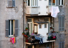 Windows. With drying laundry  in Rome Stock Images