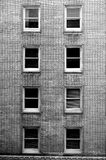 Windows. In a brick building. Black and white Stock Photo