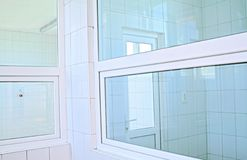 Windows. Plastic white windows in a hospital Stock Photo
