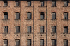 Windows. Old building built from bricks with many symmetrical windows Royalty Free Stock Image
