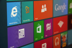 Windows 8 Start Screen Angled. Windows 8 start screen with various tiles shot at an angle Royalty Free Stock Photo