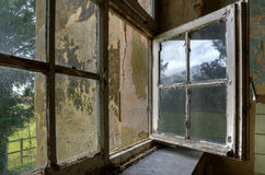 Windows of abandoned monastry. View from an abandoned monastry in Germany; St. Jozefsheim Stock Photo