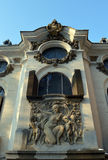 Windows above bas-relief on Cantacuzino Palace, Bucharest, Roman Stock Photos
