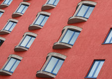Windows Abstract. Closeup and angled shot of room windows in a Prague hotel Stock Images