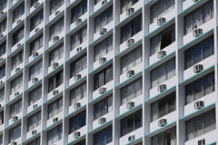 Windows and AC. Interesting building with AC and lots of windows in Honolulu Stock Photo