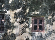 Windows on aged wall in shadow Stock Image