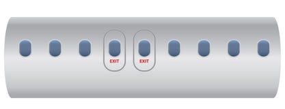 Windows of airplane with emergency exit door Stock Photo