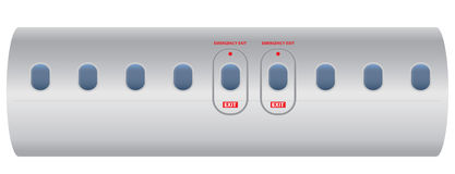 Windows of airplane with emergency exit door Stock Image