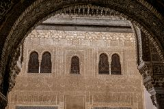 Windows in The Alhambra. Granada, Spain Royalty Free Stock Photo