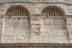 Windows in ancient stone walls. Royalty Free Stock Photos