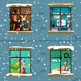 The windows of an apartment house in the evening of Christmas Royalty Free Stock Photography