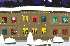 The windows of an apartment house in the evening of Christmas Royalty Free Stock Photos