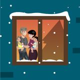 The windows of an apartment house in the evening New Year. Vector illustration Royalty Free Stock Photos