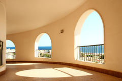 Windows arch with sea view Stock Image