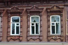 Windows of an architectural and historical monument to Tyumen, Royalty Free Stock Images