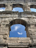 Windows on Arena. Detail in Arena in Pula, Croatia Stock Photography