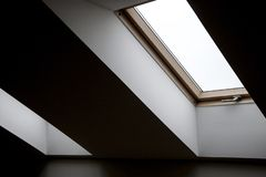 Windows in the attic. Architectural elements. Contrasting geometric interior details. stock photo