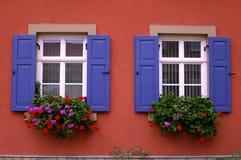Windows auf einer roten Wand Stockbilder