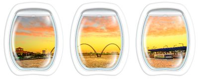 Windows auf Elizabeth Quay Bridge-Sonnenuntergang lizenzfreie stockbilder