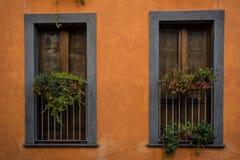 Windows av ett renoverat hus i Santu Lussurgiu, Sardinia royaltyfri fotografi