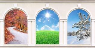 Windows av säsonger Arkivfoton