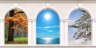 Windows av säsonger Fotografering för Bildbyråer
