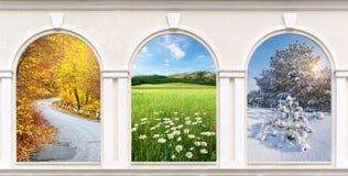 Windows av säsonger Royaltyfri Foto
