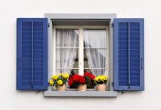 Windows avec des fleurs Photo libre de droits